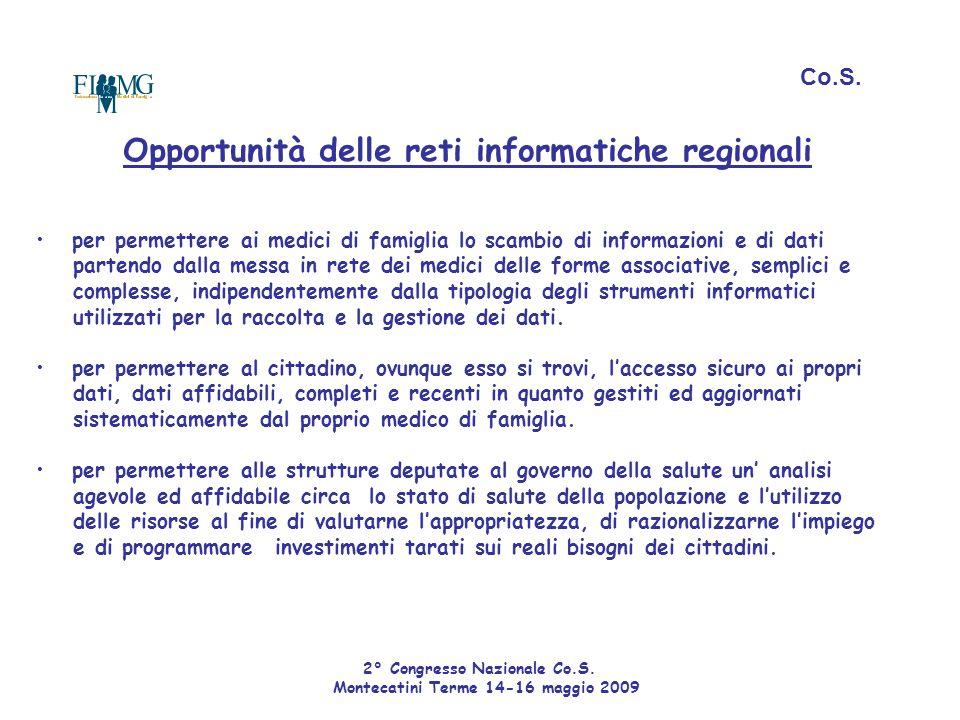 Opportunità delle reti informatiche regionali per permettere ai medici di famiglia lo scambio di informazioni e di dati partendo dalla messa in rete d