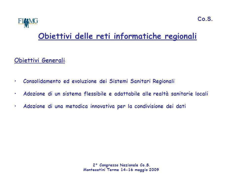 Obiettivi delle reti informatiche regionali Obiettivi Generali : Consolidamento ed evoluzione dei Sistemi Sanitari Regionali Adozione di un sistema fl
