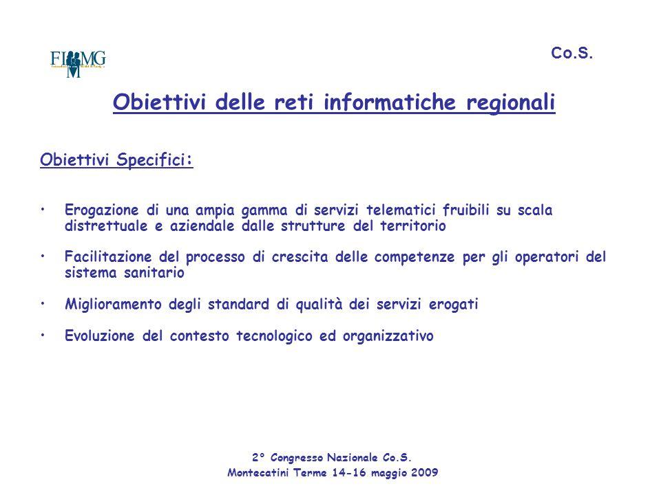 Obiettivi delle reti informatiche regionali Obiettivi Specifici : Erogazione di una ampia gamma di servizi telematici fruibili su scala distrettuale e