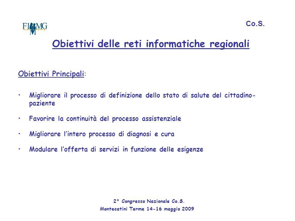 Obiettivi delle reti informatiche regionali Obiettivi Principali: Migliorare il processo di definizione dello stato di salute del cittadino- paziente