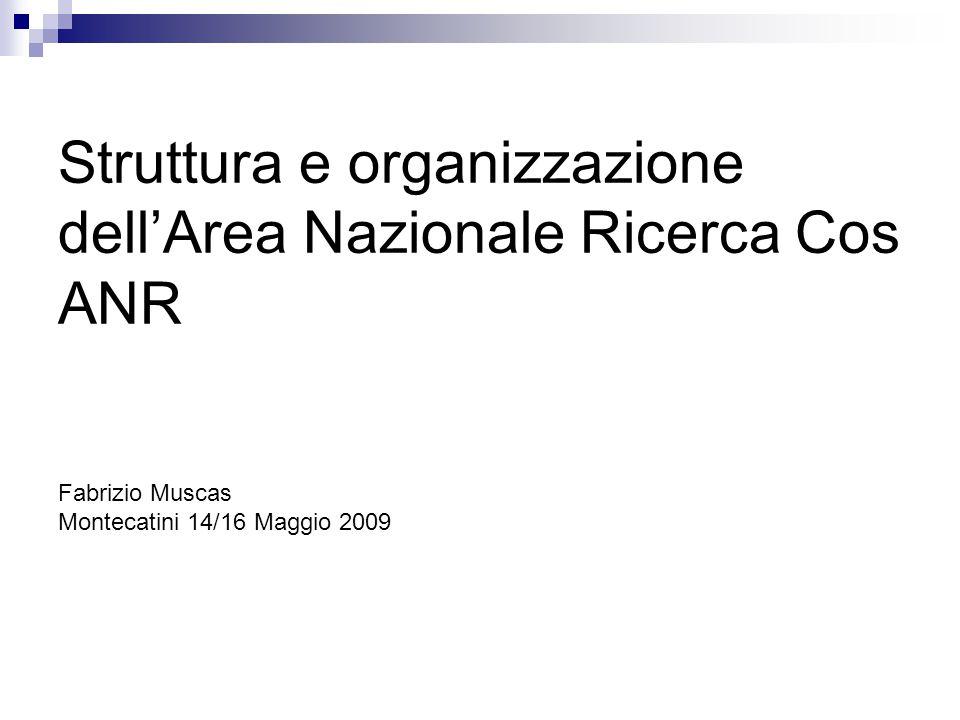 Struttura e organizzazione dell'Area Nazionale Ricerca Cos ANR Fabrizio Muscas Montecatini 14/16 Maggio 2009