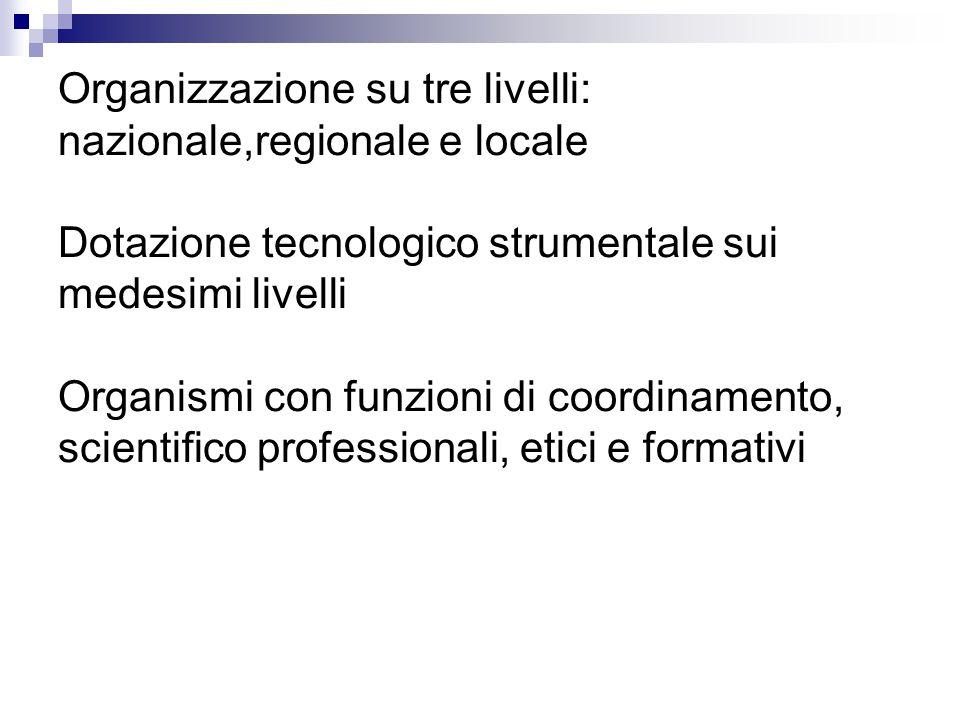 Organizzazione su tre livelli: nazionale,regionale e locale Dotazione tecnologico strumentale sui medesimi livelli Organismi con funzioni di coordinamento, scientifico professionali, etici e formativi