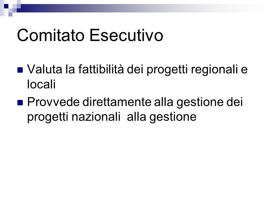 Comitato Esecutivo Valuta la fattibilità dei progetti regionali e locali Provvede direttamente alla gestione dei progetti nazionali alla gestione