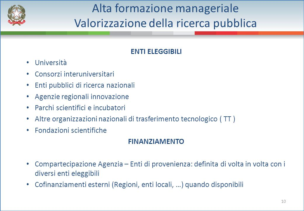10 Alta formazione manageriale Valorizzazione della ricerca pubblica ENTI ELEGGIBILI Università Consorzi interuniversitari Enti pubblici di ricerca na