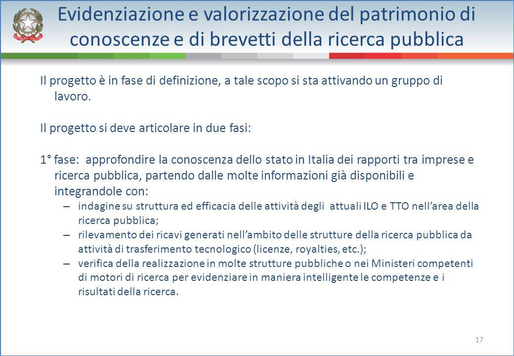 17 Evidenziazione e valorizzazione del patrimonio di conoscenze e di brevetti della ricerca pubblica Il progetto è in fase di definizione, a tale scop