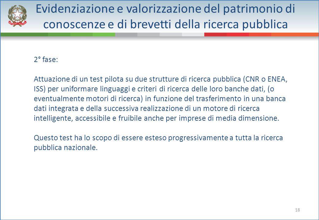 18 Evidenziazione e valorizzazione del patrimonio di conoscenze e di brevetti della ricerca pubblica 2° fase: Attuazione di un test pilota su due stru