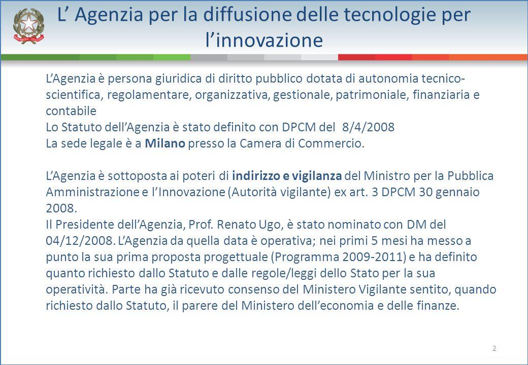2 L' Agenzia per la diffusione delle tecnologie per l'innovazione L'Agenzia è persona giuridica di diritto pubblico dotata di autonomia tecnico- scien