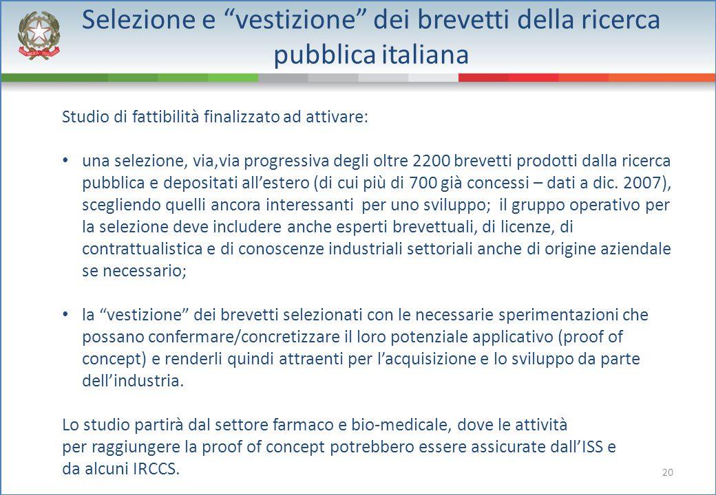 """20 Selezione e """"vestizione"""" dei brevetti della ricerca pubblica italiana Studio di fattibilità finalizzato ad attivare: una selezione, via,via progres"""