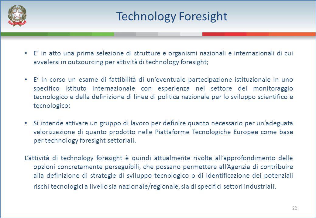 22 Technology Foresight E' in atto una prima selezione di strutture e organismi nazionali e internazionali di cui avvalersi in outsourcing per attivit