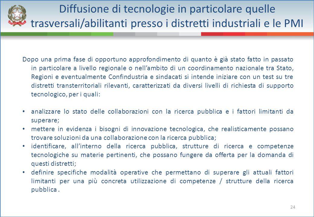 24 Diffusione di tecnologie in particolare quelle trasversali/abilitanti presso i distretti industriali e le PMI Dopo una prima fase di opportuno appr