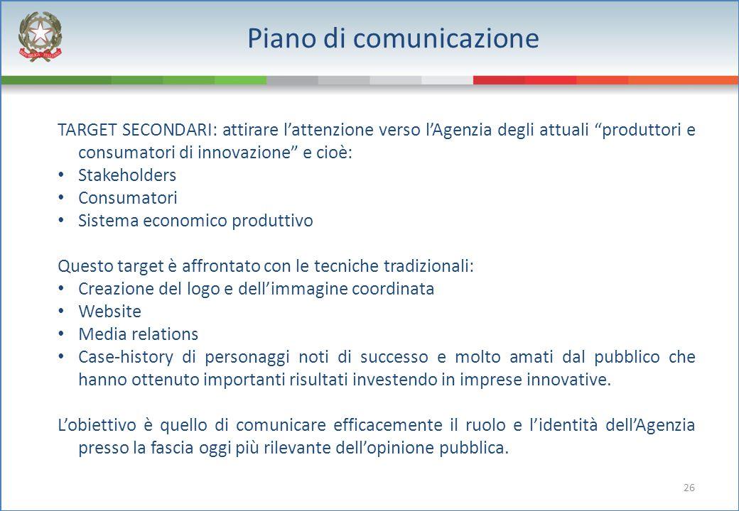 """26 Piano di comunicazione TARGET SECONDARI: attirare l'attenzione verso l'Agenzia degli attuali """"produttori e consumatori di innovazione"""" e cioè: Stak"""