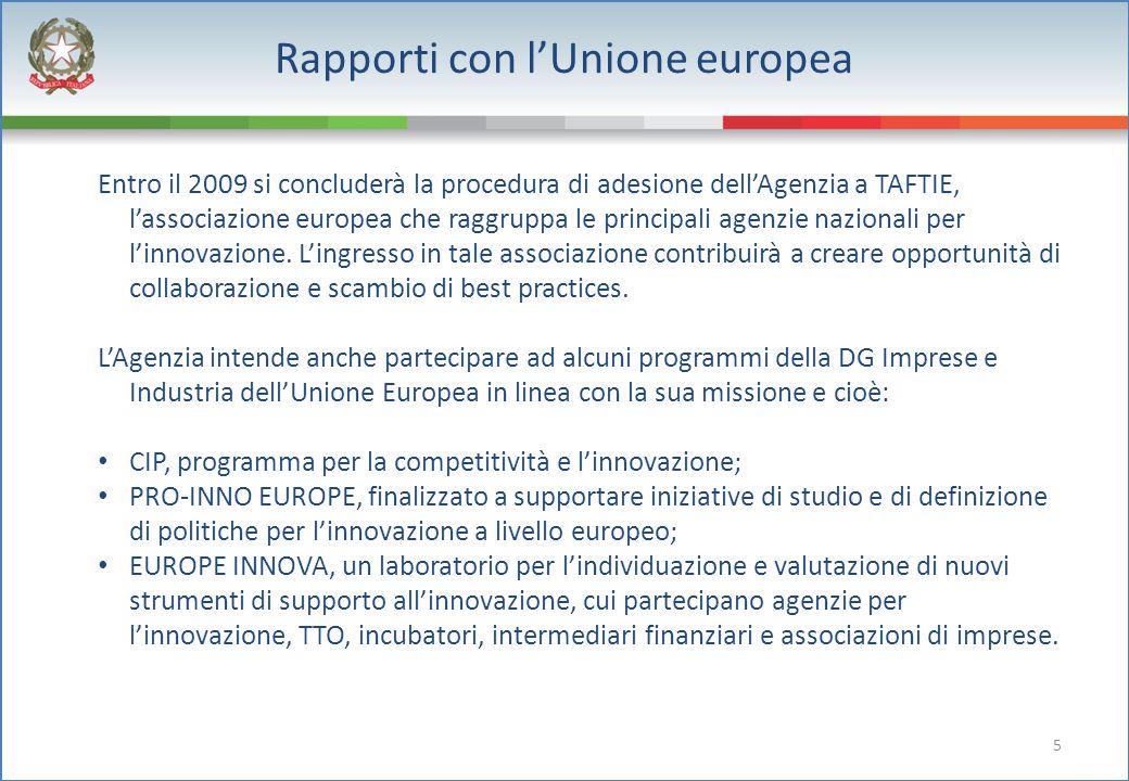 5 Rapporti con l'Unione europea Entro il 2009 si concluderà la procedura di adesione dell'Agenzia a TAFTIE, l'associazione europea che raggruppa le pr