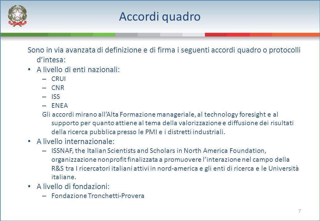 7 Accordi quadro Sono in via avanzata di definizione e di firma i seguenti accordi quadro o protocolli d'intesa: A livello di enti nazionali: – CRUI –