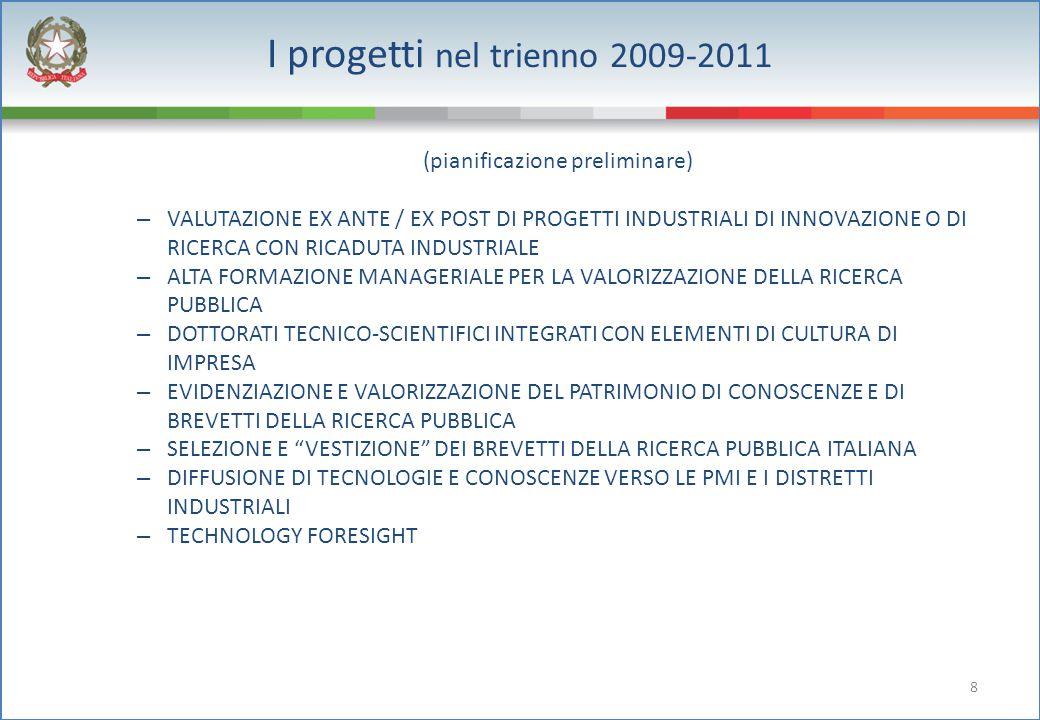 8 I progetti nel trienno 2009-2011 (pianificazione preliminare) – VALUTAZIONE EX ANTE / EX POST DI PROGETTI INDUSTRIALI DI INNOVAZIONE O DI RICERCA CO