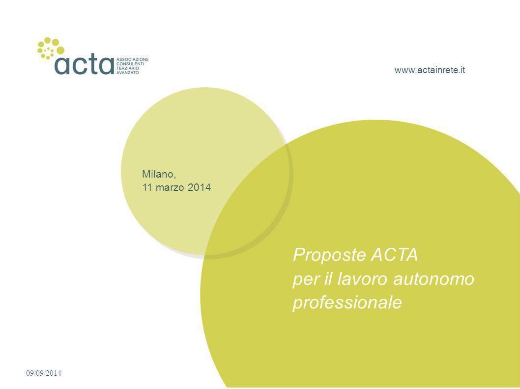 www.actainrete.it Milano, 11 marzo 2014 Proposte ACTA per il lavoro autonomo professionale 09/09/2014