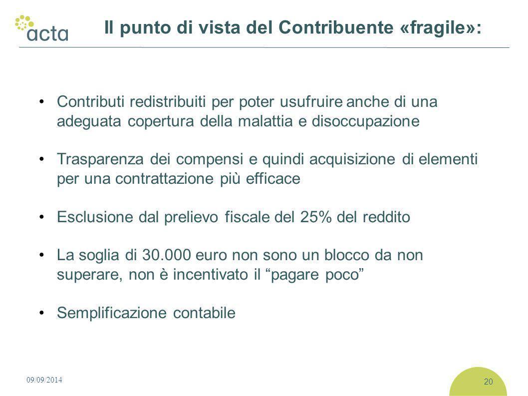 Contributi redistribuiti per poter usufruire anche di una adeguata copertura della malattia e disoccupazione Trasparenza dei compensi e quindi acquisi