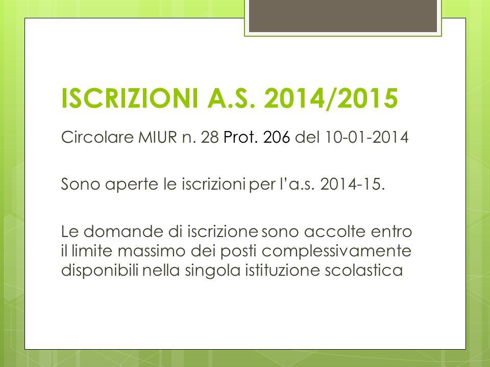 ISCRIZIONI A.S. 2014/2015 Circolare MIUR n. 28 Prot. 206 del 10-01-2014 Sono aperte le iscrizioni per l'a.s. 2014-15. Le domande di iscrizione sono ac