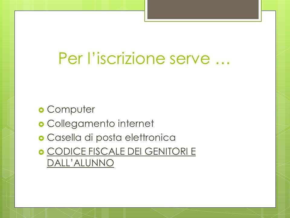 Per l'iscrizione serve …  Computer  Collegamento internet  Casella di posta elettronica  CODICE FISCALE DEI GENITORI E DALL'ALUNNO