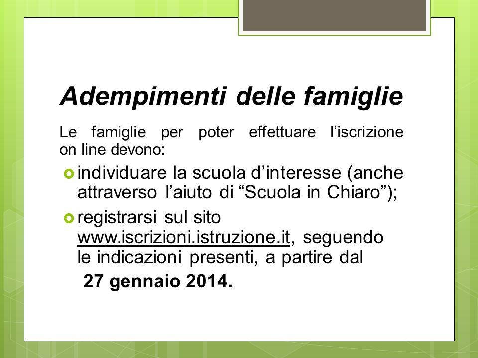 Adempimenti delle famiglie Le famiglie per poter effettuare l'iscrizione on line devono:  individuare la scuola d'interesse (anche attraverso l'aiuto