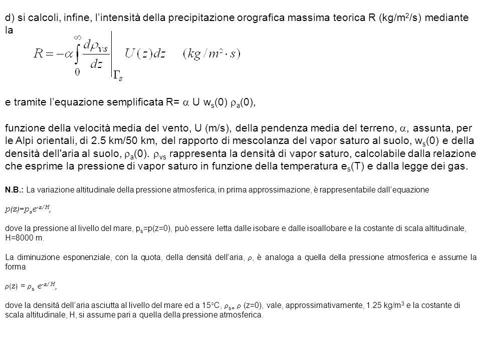 d) si calcoli, infine, l'intensità della precipitazione orografica massima teorica R (kg/m 2 /s) mediante la e tramite l'equazione semplificata R=  U