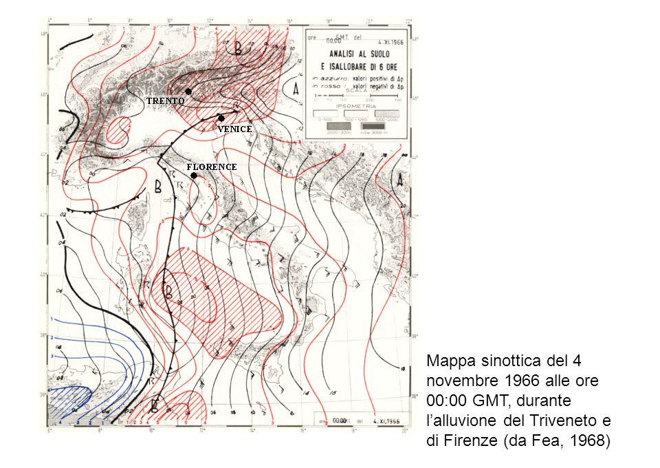 Mappa sinottica del 4 novembre 1966 alle ore 00:00 GMT, durante l'alluvione del Triveneto e di Firenze (da Fea, 1968)