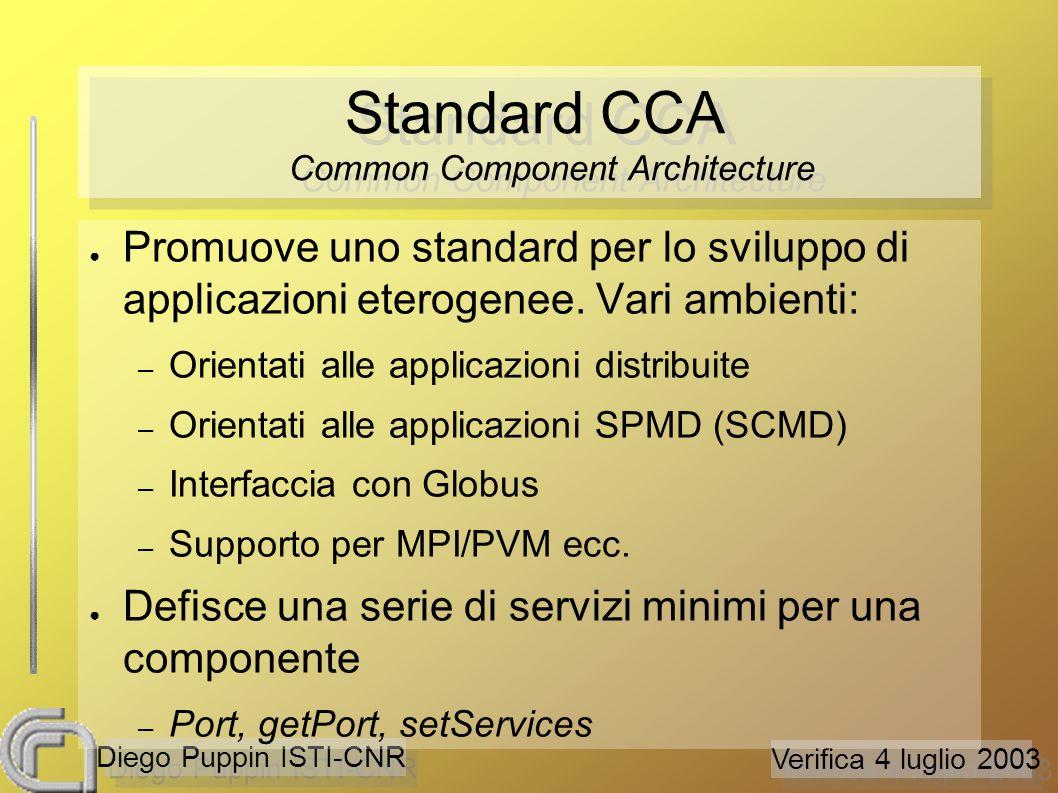 Verifica 4 luglio 2003 Diego Puppin ISTI-CNR Standard CCA Common Component Architecture ● Promuove uno standard per lo sviluppo di applicazioni eterogenee.