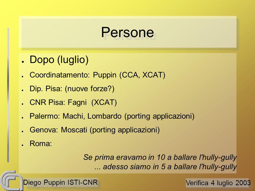 Verifica 4 luglio 2003 Diego Puppin ISTI-CNR Obiettivi ● Prima (aprile) ● Analisi di ambienti a componenti: – CCA (CNR) – XCAT (CNR) – WebService (CNR) – CCM (Dip.
