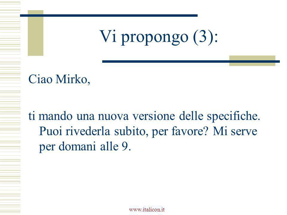www.italicon.it Vi propongo (3): Ciao Mirko, ti mando una nuova versione delle specifiche. Puoi rivederla subito, per favore? Mi serve per domani alle