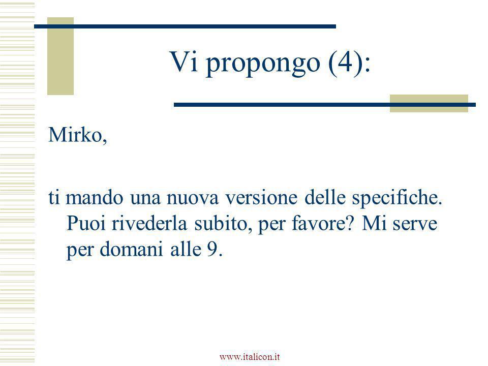 www.italicon.it Vi propongo (4): Mirko, ti mando una nuova versione delle specifiche. Puoi rivederla subito, per favore? Mi serve per domani alle 9.