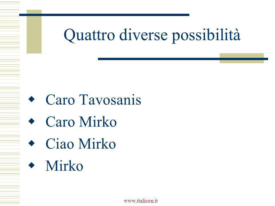 www.italicon.it Quattro diverse possibilità  Caro Tavosanis  Caro Mirko  Ciao Mirko  Mirko