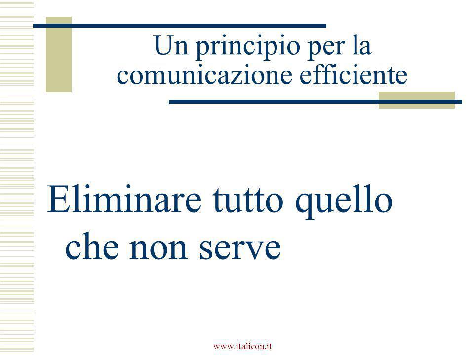 Un principio per la comunicazione efficiente Eliminare tutto quello che non serve
