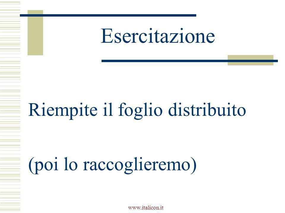 www.italicon.it Esercitazione Riempite il foglio distribuito (poi lo raccoglieremo)