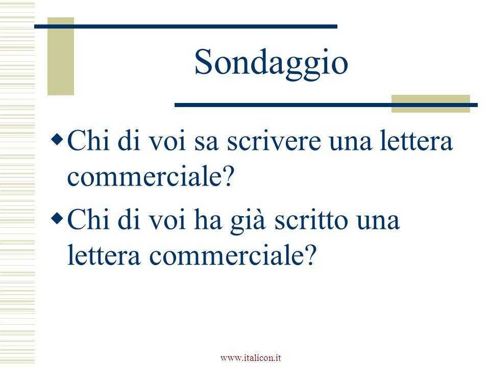 www.italicon.it Sondaggio  Chi di voi sa scrivere una lettera commerciale?  Chi di voi ha già scritto una lettera commerciale?