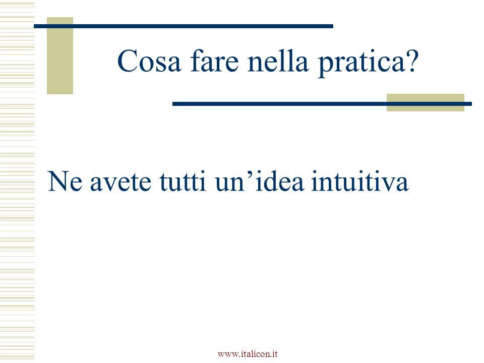 www.italicon.it Cosa fare nella pratica Ne avete tutti un'idea intuitiva