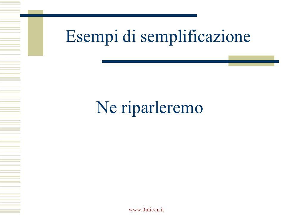 www.italicon.it Esempi di semplificazione Ne riparleremo
