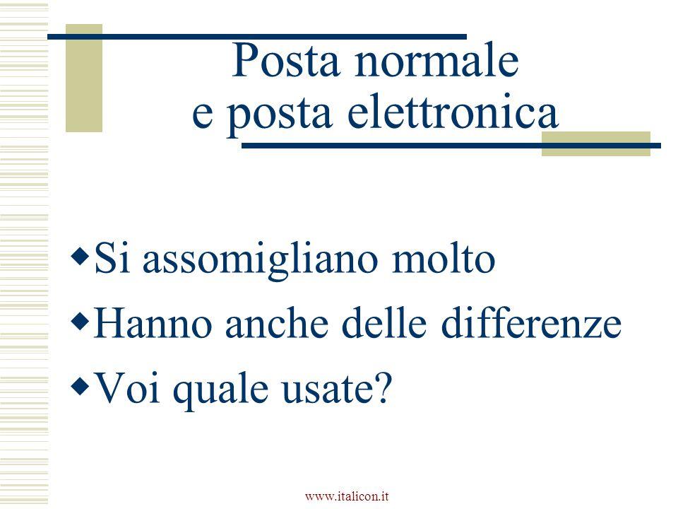 www.italicon.it Posta normale e posta elettronica  Si assomigliano molto  Hanno anche delle differenze  Voi quale usate