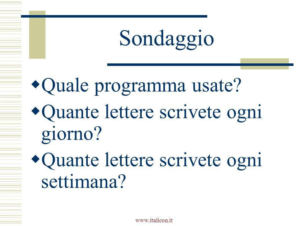 www.italicon.it Sondaggio  Quale programma usate?  Quante lettere scrivete ogni giorno?  Quante lettere scrivete ogni settimana?