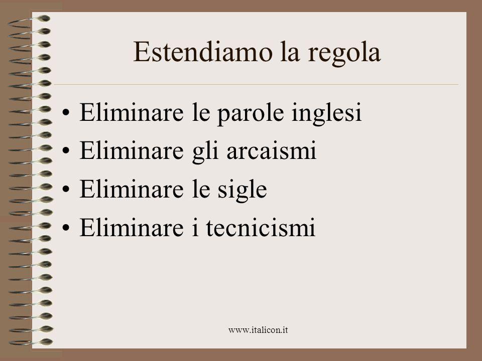 www.italicon.it Estendiamo la regola Eliminare le parole inglesi Eliminare gli arcaismi Eliminare le sigle Eliminare i tecnicismi