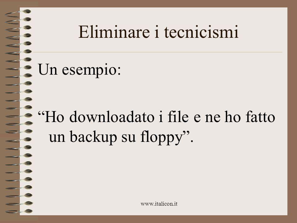 www.italicon.it Eliminare i tecnicismi Un esempio: Ho downloadato i file e ne ho fatto un backup su floppy .