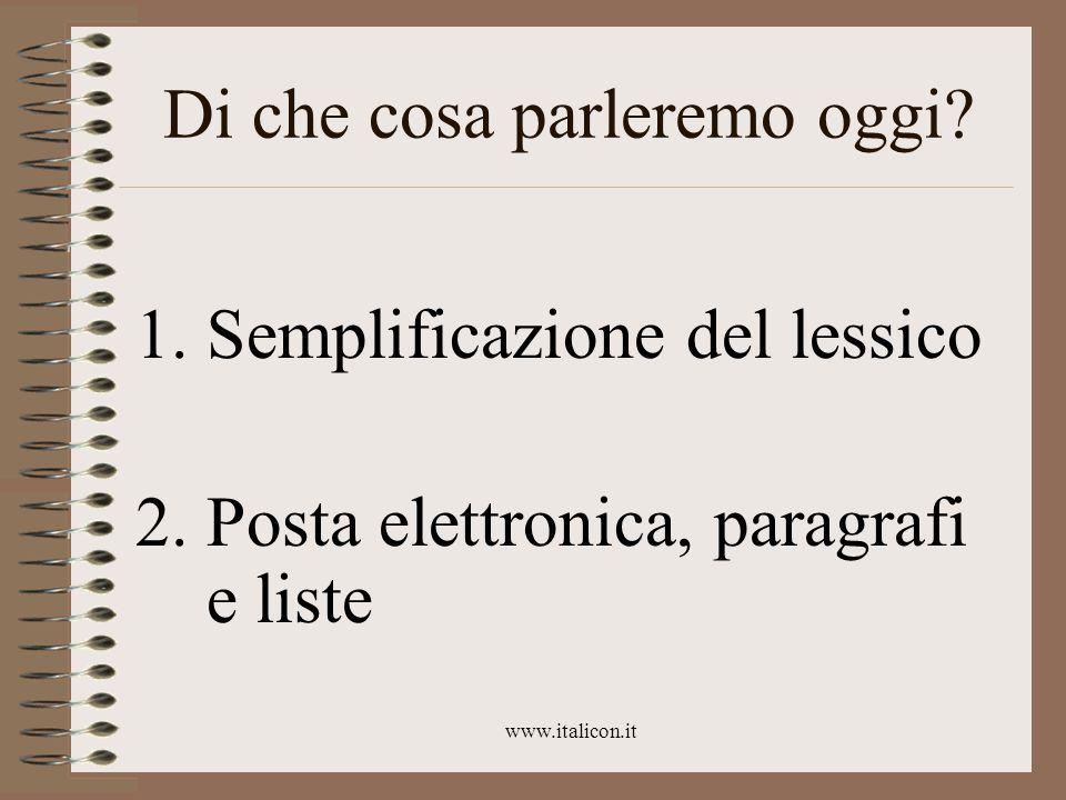 www.italicon.it Eliminare le sigle Un esempio: Il sistema ACM non ha riportato i risultati previsti da V2, V3, V4…