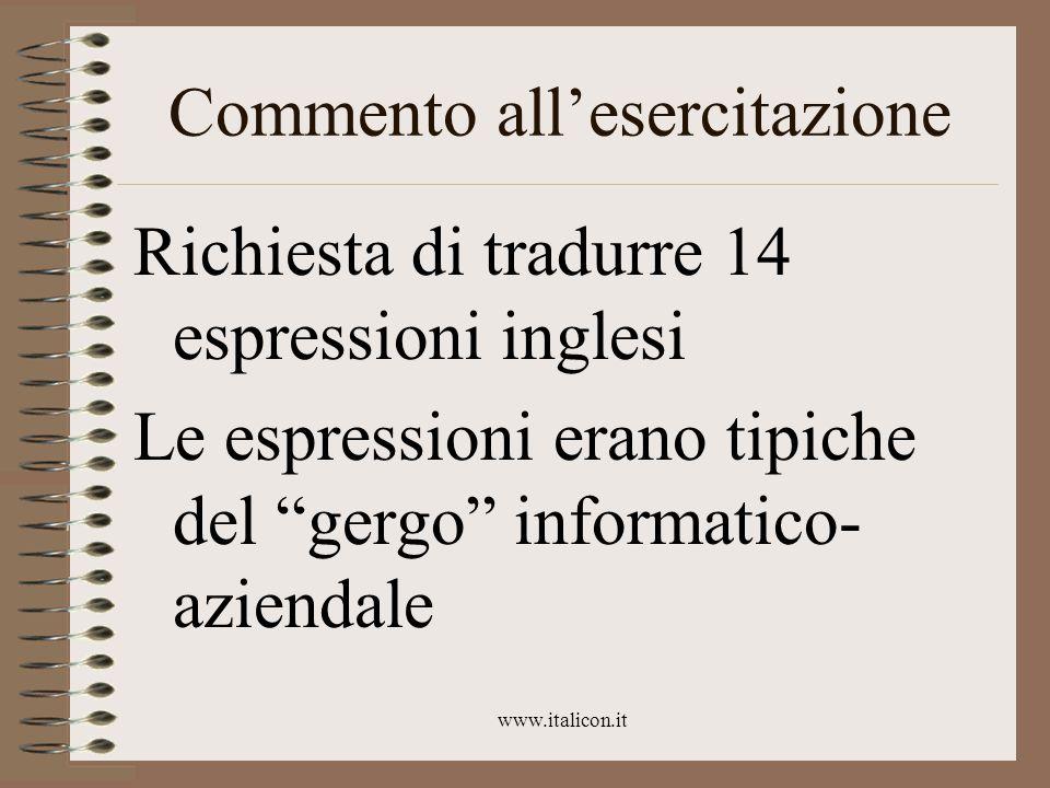 www.italicon.it Espressioni Hard disk, benchmark, slide, floppy disk, case, e-mail, dial- up, provider, slash, backslash, newsgroup, mailing list, emoticon, attachment