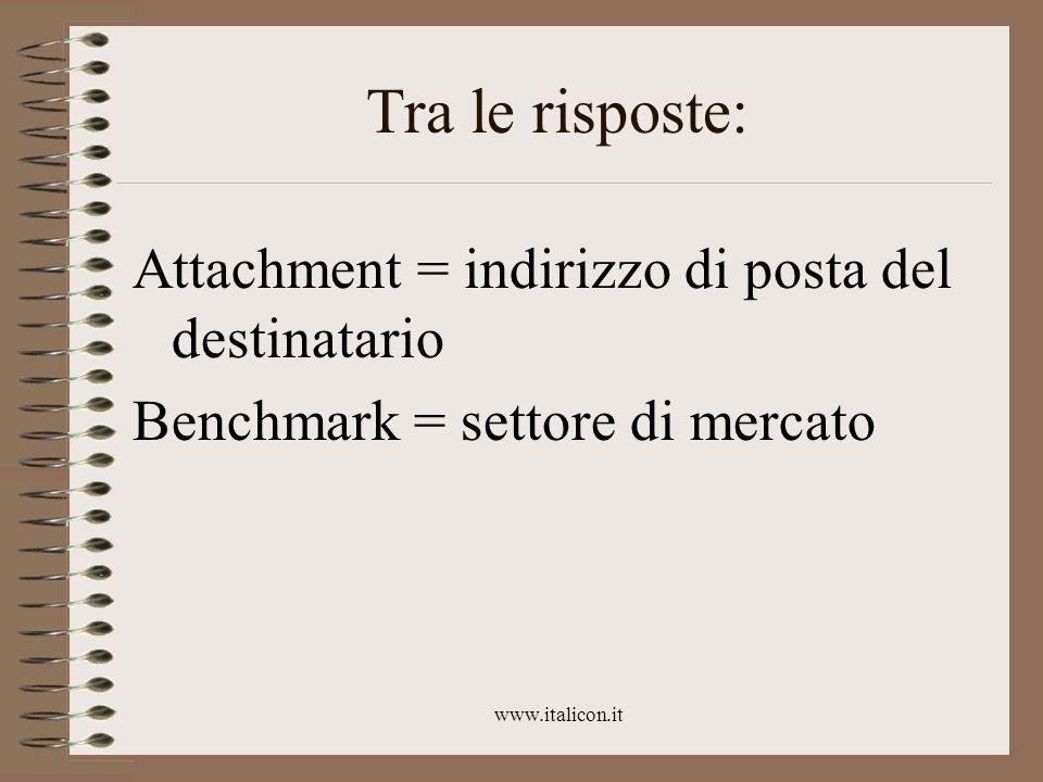 www.italicon.it Tra le risposte: Attachment = indirizzo di posta del destinatario Benchmark = settore di mercato