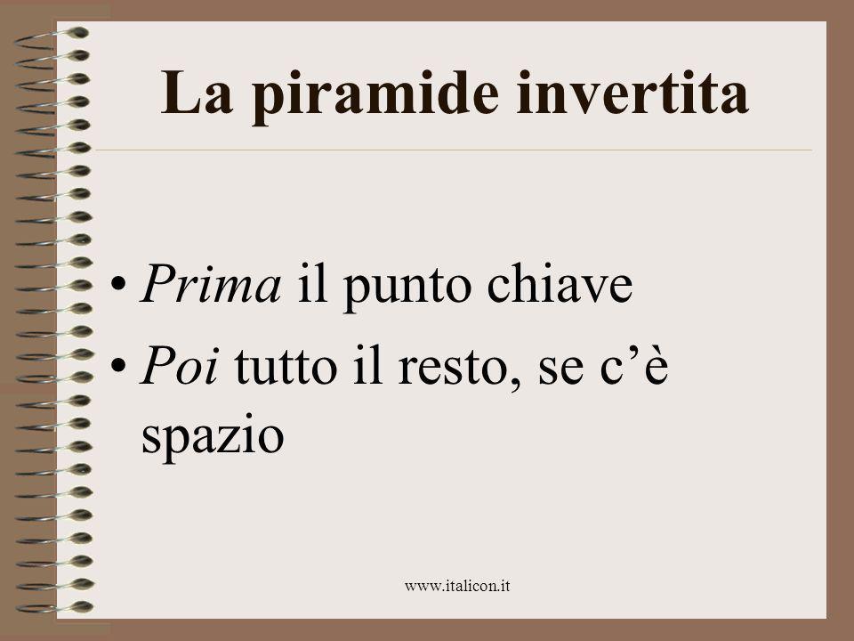 www.italicon.it La piramide invertita Prima il punto chiave Poi tutto il resto, se c'è spazio