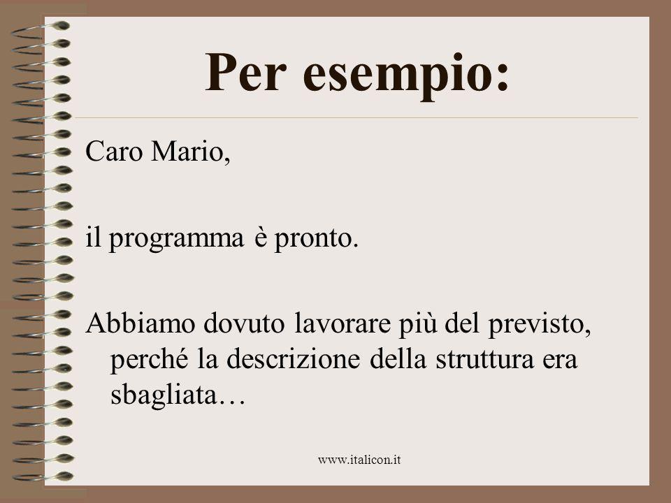 www.italicon.it Per esempio: Caro Mario, il programma è pronto.