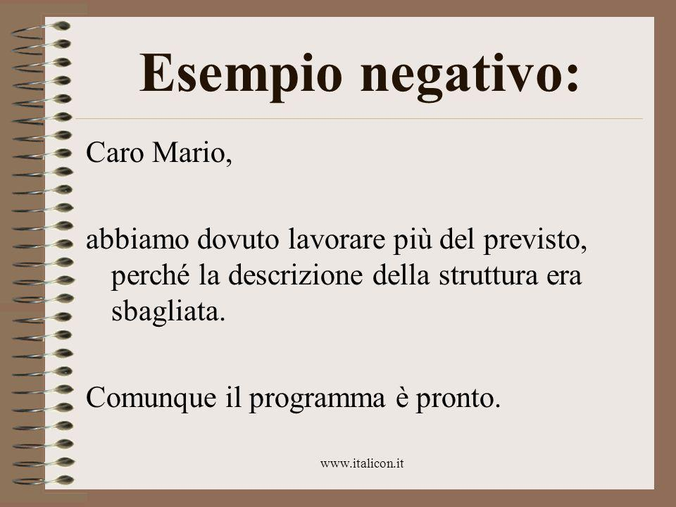 www.italicon.it Esempio negativo: Caro Mario, abbiamo dovuto lavorare più del previsto, perché la descrizione della struttura era sbagliata.