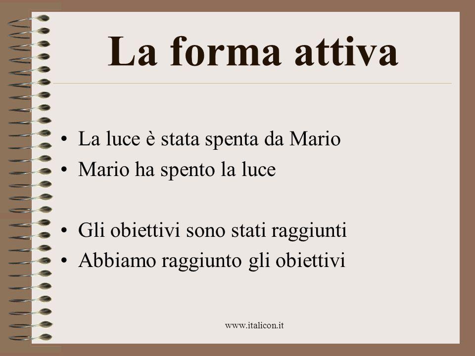 www.italicon.it La forma attiva La luce è stata spenta da Mario Mario ha spento la luce Gli obiettivi sono stati raggiunti Abbiamo raggiunto gli obiettivi