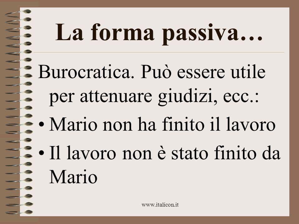 www.italicon.it La forma passiva… Burocratica.