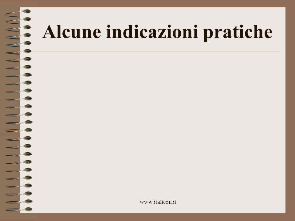 www.italicon.it Prova finale Niente esame orale Un'esercitazione scritta Una relazione di 2000-3000 caratteri Da spedire per posta elettronica