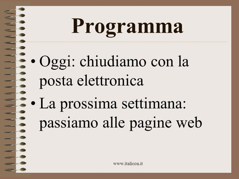 www.italicon.it La settimana scorsa Il destinatario Le informazioni chiave (con immediata applicazione alla posta elettronica)