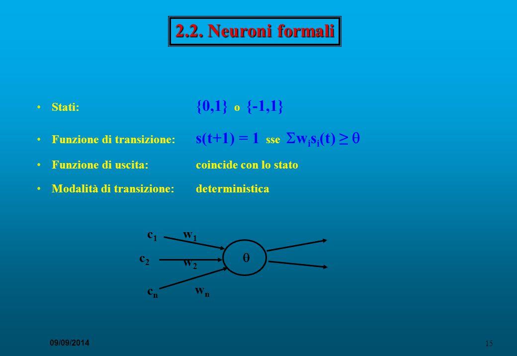 15 09/09/2014 2.2. Neuroni formali Stati: {0,1} o {-1,1} Funzione di transizione: s(t+1) = 1 sse  w i s i (t) ≥  Funzione di uscita:coincide con lo